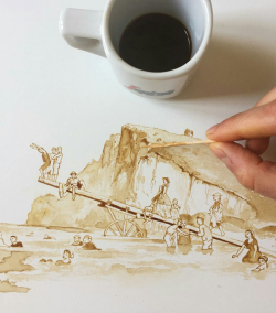 Nggak Biasa, Lukisan Keren Ini Dibuat dari Segelas Kopi