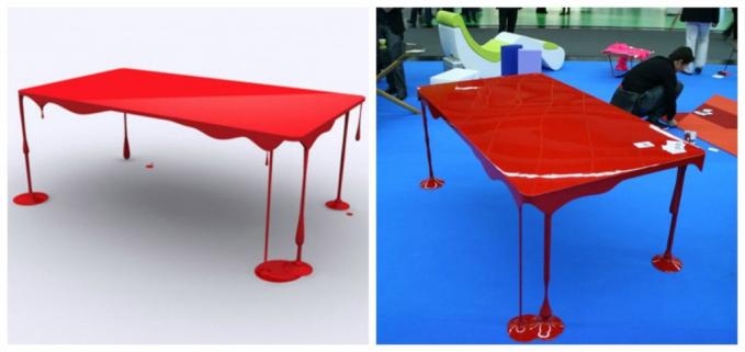 Sementara itu desainer asal Perancis, John Nouanesing membuat meja yang terlihat seperti tumpahan cat berwarna merah.