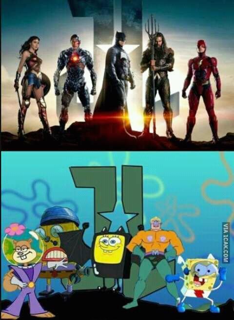Pose superhero ala Bikini Bottom. Hmm, siapa meniru siapa nih?.