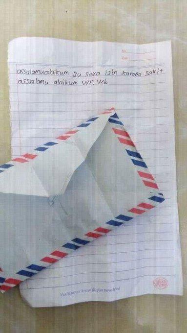 Ketahuan kalau surat ijin ini dibikin sendiri sama anaknya.