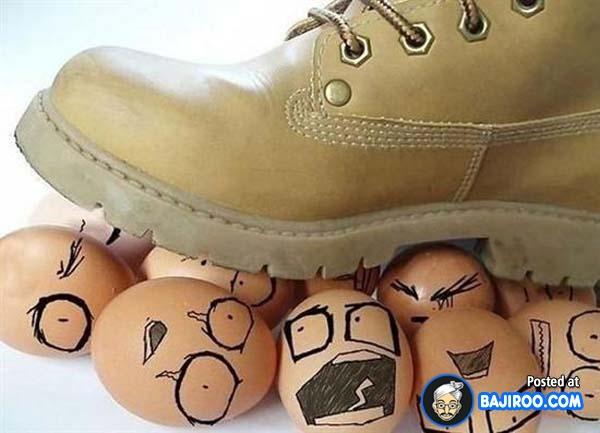 Duh, jangan diinjak. Nggak kasihan sama telur-telurnya?. Mending digoreng aja.