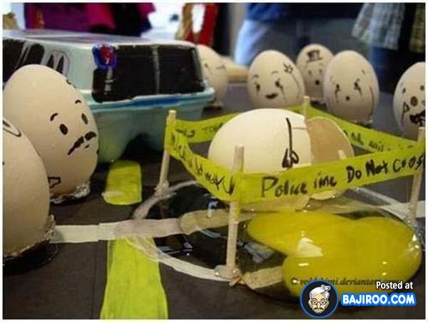 Telur pecah harus dipasangi garis polisi dan menunggu investigasi.