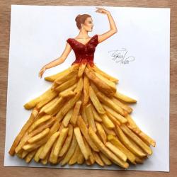 Keren, Sketsa Gaun Ini Ternyata Dibuat Menggunakan Makanan Lho
