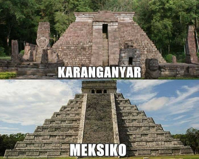Di Karanganyar, Jawa Tengah ada situs Candi Sukuh memliki kemiripan dengan piramida Suku Maya, Chichen Itza di Meksiko.