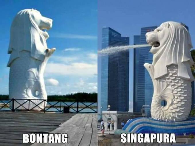 Patung air mancur singa di Bontang nggak kalah keren sama yang aslinya di Singapura Pulsker.