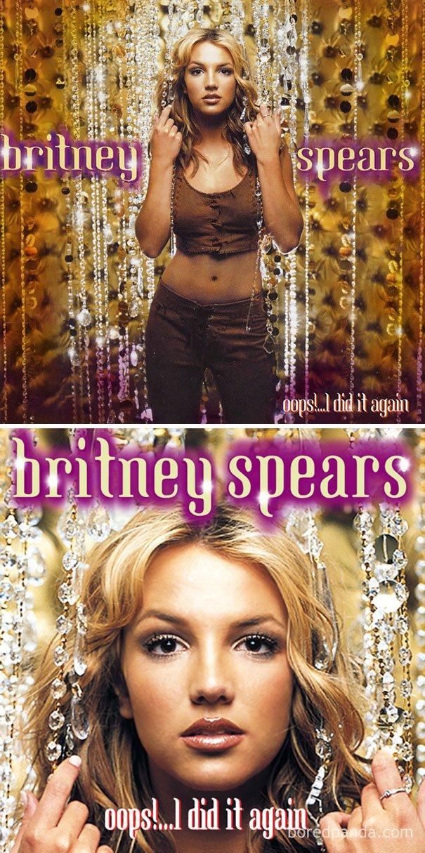 Cover album Britney Spears menjadi close up wajah.