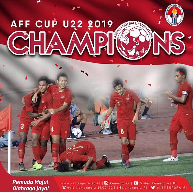 Kegembiraan seluruh pemain Timnas U 22 Indonesia