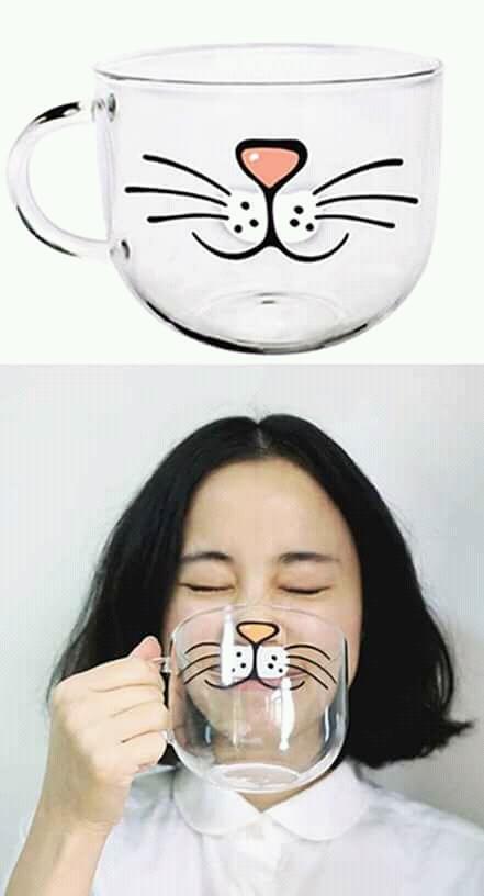 Gelas transparan bergambar hidung dan kumis kucing kayak gini bikin kita mirip kucing deh jadinya.