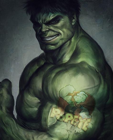 Ternyata, badan kekar segede Hulk ngefansnya sama si Popeye guys.