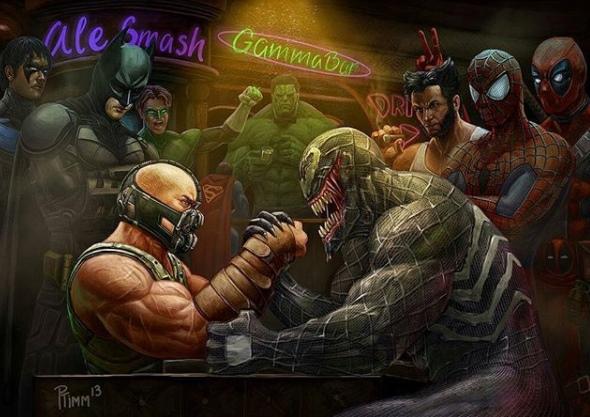 Para superhero nampak antusias menyaksikan para musuh mereka beradu panco. Siapa ya yang bakalan menang kira-kira?.