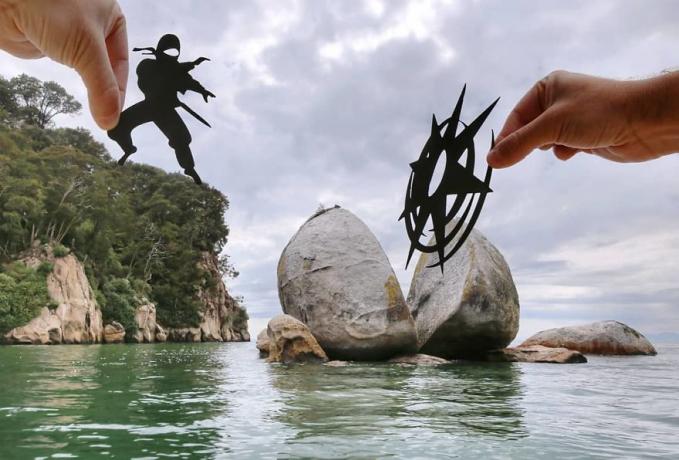 Jurus ninja lagi membelah batunya top abis deh pokoknya. Keren banget imajinasinya ya Pulsker?.