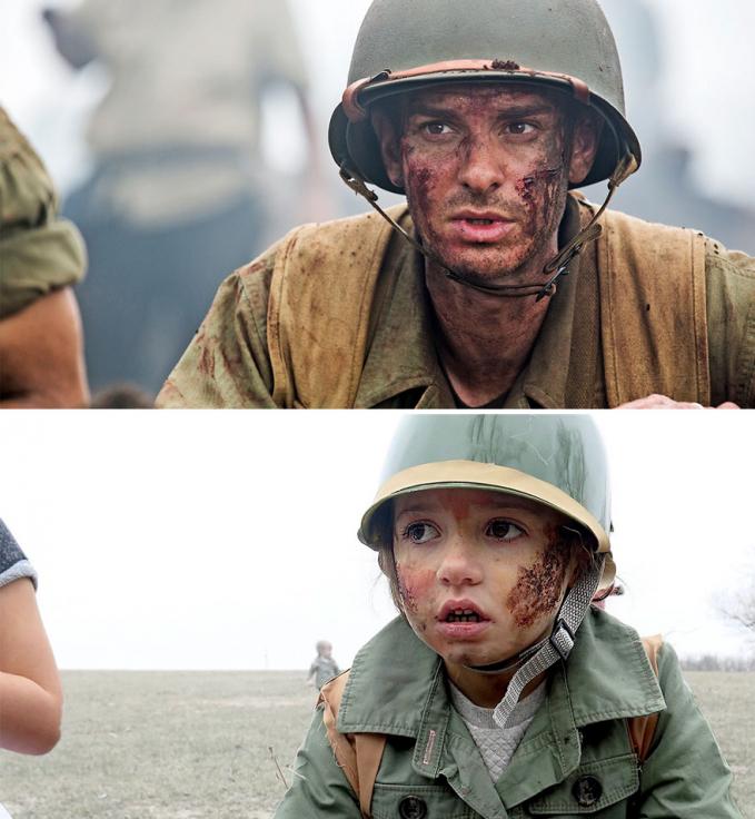 Dan si Sloane lagi meniru ekspresi wajah Andrew Garfield di film 'Hackshaw Ridge'.