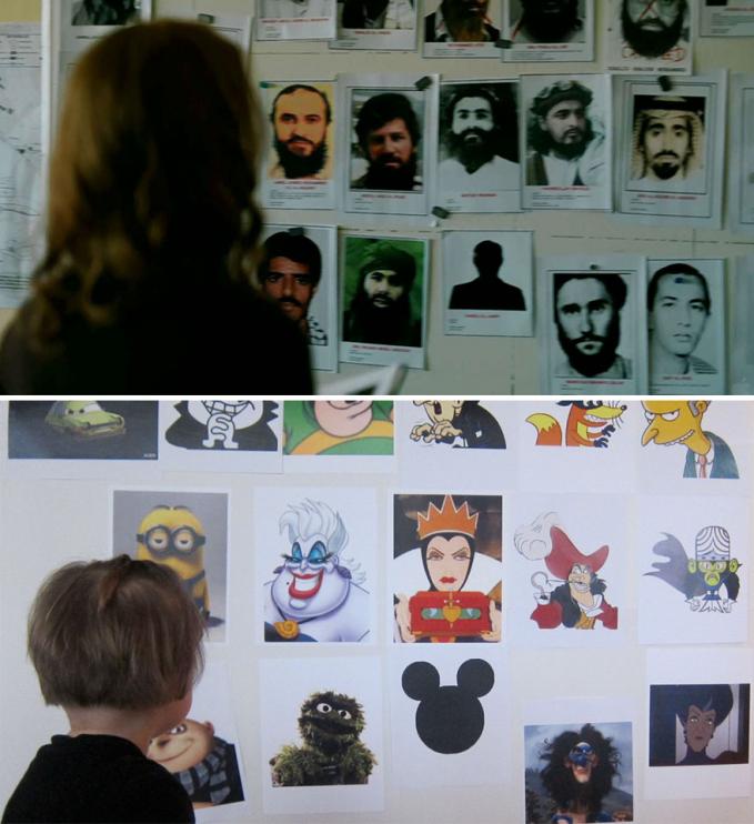 Maunya sih meniru film 'Zero Dark Thirty', berhubung anak-anak jadi wajah-wajah seram para teroris diganti dengan kartun lucu. Lucu banget ya Pulsker kalau anak-anak meniru adegan di film terkenalnya. Makin menggemaskan