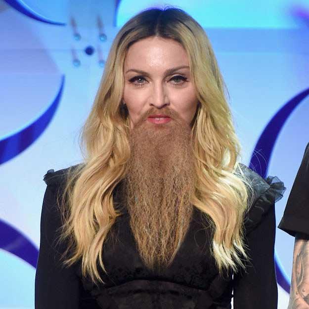 Wah, mbak Madonna makin mantap dengan jenggot panjangnya nih Pulsker.