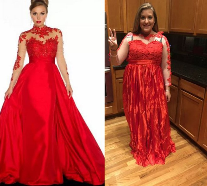 Inginnya tampil sensual dengan gaun berwarna merah, tapi jadinya malah kaya gini.