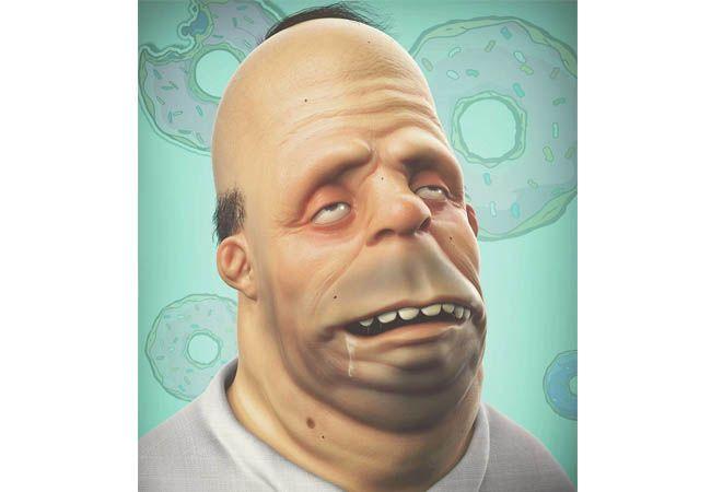 Homer Simpson kelihatan tua banget ya wajahnya?.