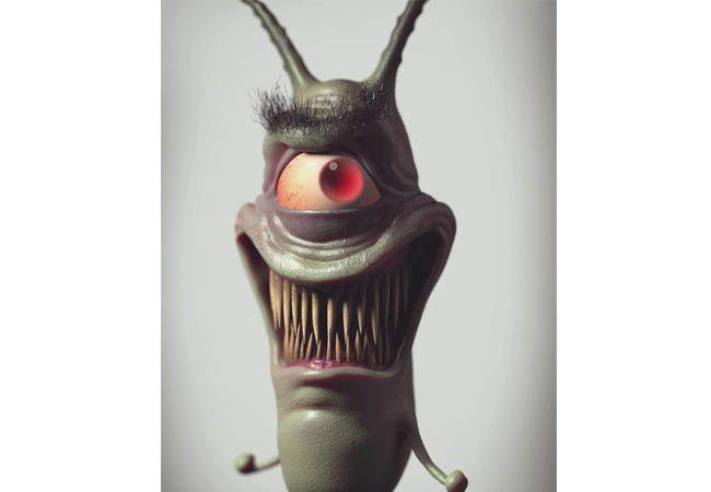 Plankton yang selama ini dikenal dengan sifatnya yang mudah iri, berubah jadi sesosok zombie bermata satu.
