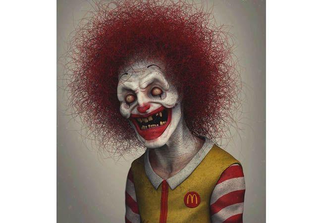 Maskot makanan cepat saji McDonald, Ronald McDonald berubah jadi menyeramkan dengan rambut merah acak-acakan.