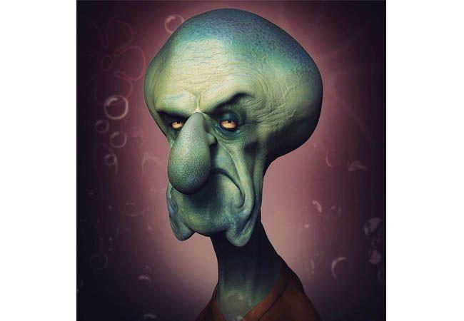 Sementara itu Squidward berubah jadi sosok bengis saat menjadi zombie.