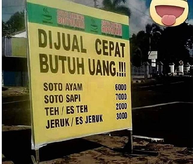 Cuma orang Indonesia yang kepikiran untuk bikin spanduk kaya gini.