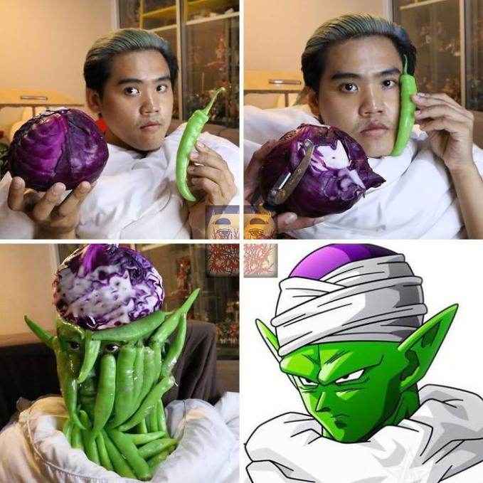 Untuk bisa menjadi Piccolo, pria ini memanfaatkan kubis ungu dan cabai hijau sebagai bahan utamanya. Jadinya lumayan mirip lah ya.