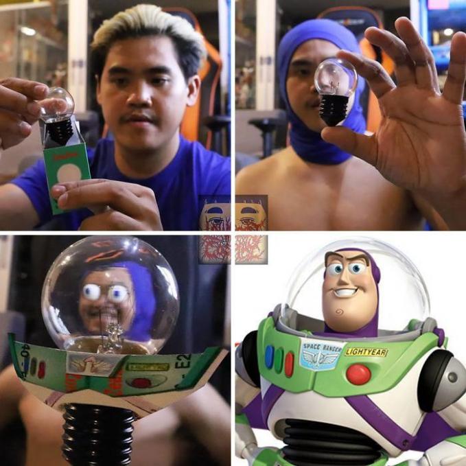 Cosplay buzz Toys Story, bisa dibuat hanya dengan menggunakan bohlam lampu.