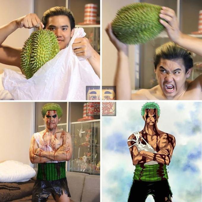 Kalau beli durian, kulitnya jangan dibuang ya karena bisa dibuat menjadi karakter Roronoa Zoro. Niat banget kan?!