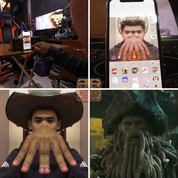 Percuma bahan fisik aja, tetapi aplikasi foto juga bisa dimanfaatkan sebagai bahan untuk menjadi cosplay Davy Jones dalam film Pirates of the Caribbean.