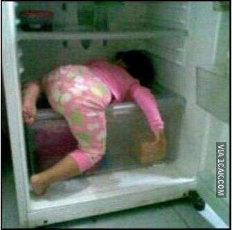 AC lagi mati pas cuaca lagi panas-panasnya, jadi ngadem di kulkas aja deh.