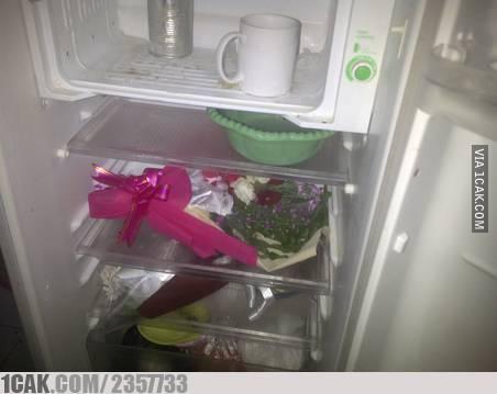 Biar nggak layu, bunga dari pacar di letakkan di kulkas aja deh.