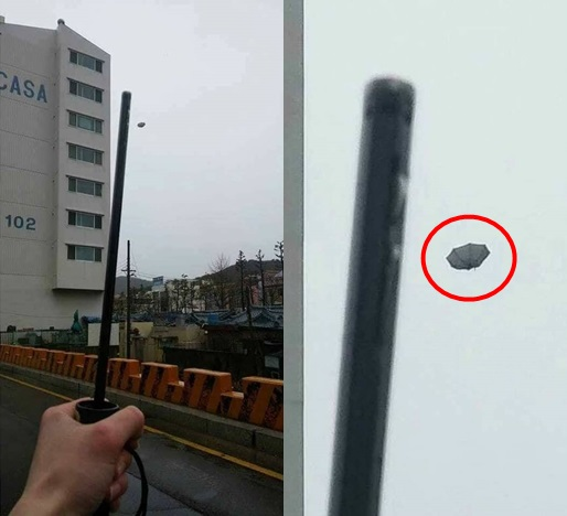Payung goblin yang terbang ini tertangkap kamera netizen :D