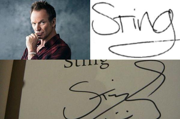 Tanda tangan Sting, pentolan grup band legendaris The Police tertulis nama terang dirinya.