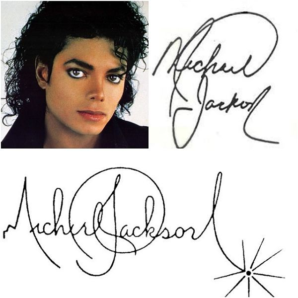 Sementara itu tanda tangan Raja Pop Michael Jackson nampak artistik banget Pulsker. Ditambah lagi dengan gambar bintang di ujung tanda tangannya.