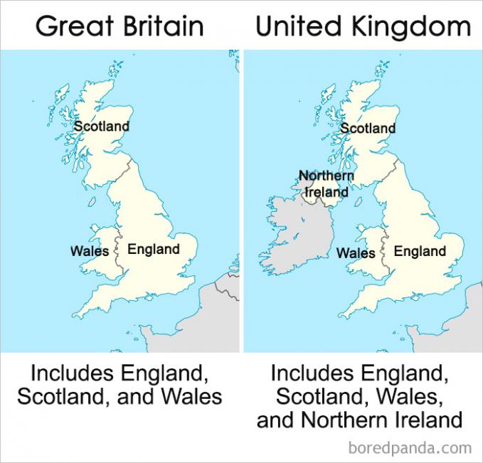 Nah, ini dia yang membedakan Great Britain dengan United Kingdom. Great Britain areanya meliputi Inggris, Skotlandia dan Wales. Kalau United Kingdom selain ketiga wilayah tersebut juga termasuk Irlandia Utara.
