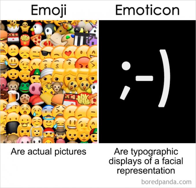 Pasti kadang kalian sering menyamakan istilah emoji sama emoticon?. Beda guys, kalau emoji memiliki gambar nyata tapi kalau emoticon terdiri dari simbol-simbol tulisan.