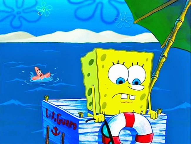 Patrick hidup di air kan bisa berenang, ini malah pakai acara tenggelam segala sih?.