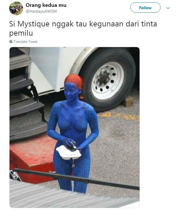 Ternyata warna dari tubuh Mystique ini berasal dari tinta Pemilu.