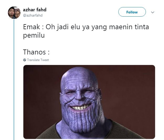 Kepala Thanos yang dicelupin ke dalam botol tinta Pemilu, makanya jadi warna ungu. Awokawokawok
