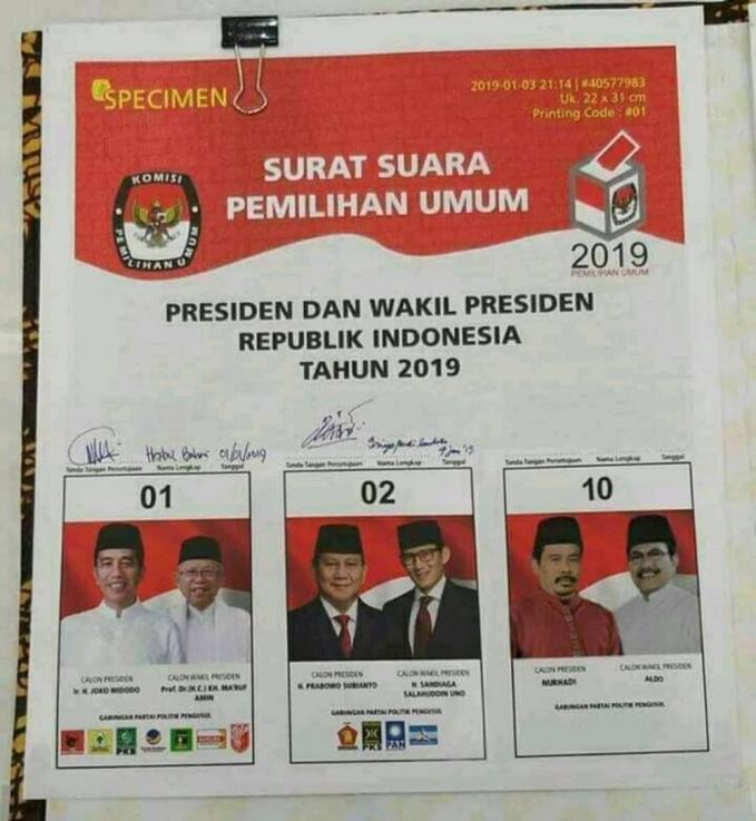 Bahkan di surat suara juga ada nomor urut 10 yang ditunggangi oleh capres dan cawapres Nurhadi-Aldo.