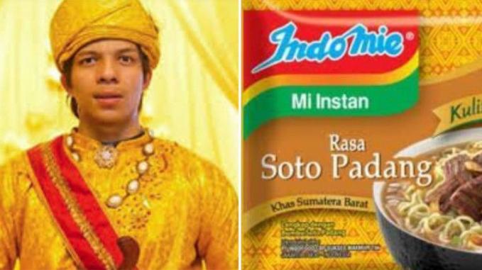 Menggunakan baju adat berwarna emas, penampilan Atta ini sangat mirip dengan kemasan Indomie rasa Soto Padang.