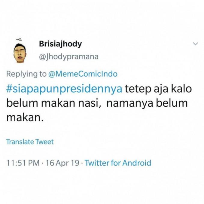 #SiapappunPresidennya, kalau makan Indomie tetap pakai tambahan nasi biar kenyang.