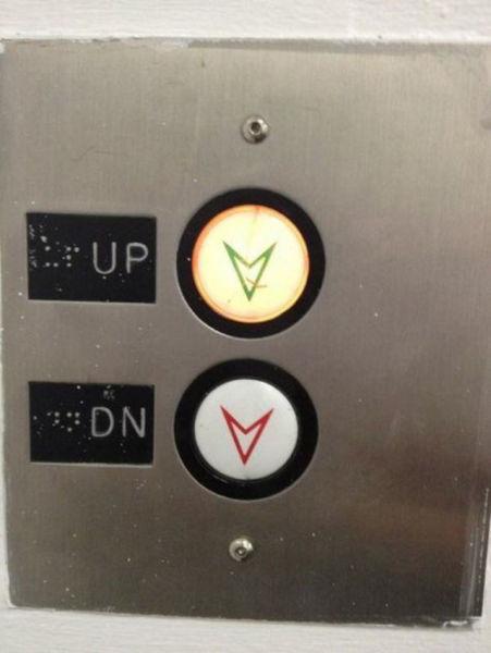 Jadi nggak bisa naik, karena tombolnya turun semua.