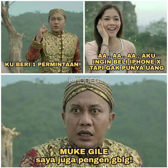 Hahaha, ternyata nggak cuma si mbaknya aja yang pengen hape baru dan canggih, om jin juga lho guys.