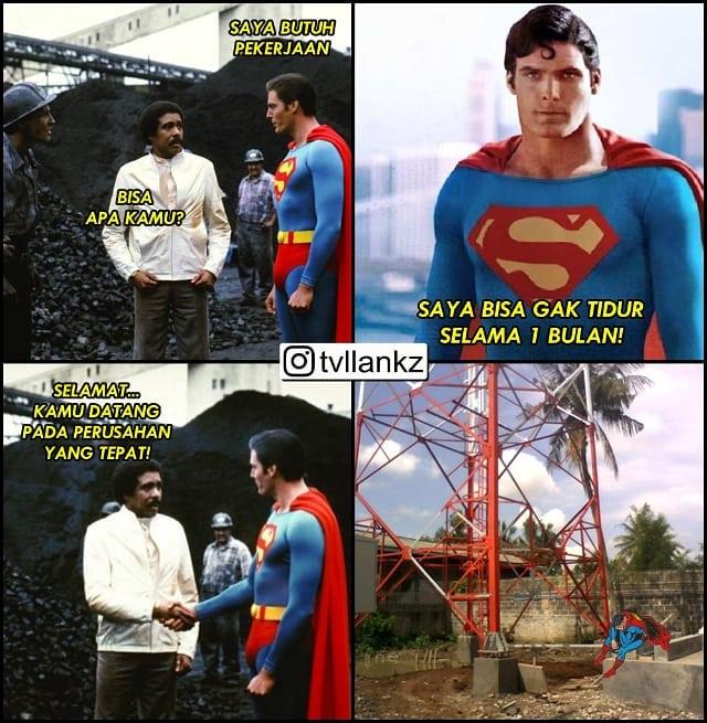Maklum, nggak ada job membasmi kejahatan si Superman mencoba melamar di sebuah proyek pembangunan tower.