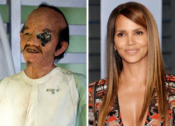 Hal bikin pangling banget adalah ketika Halle Berry bermain di film 'Could Atlas' Pulsker. Liat deh, wajahnya berubah drastis kan?.