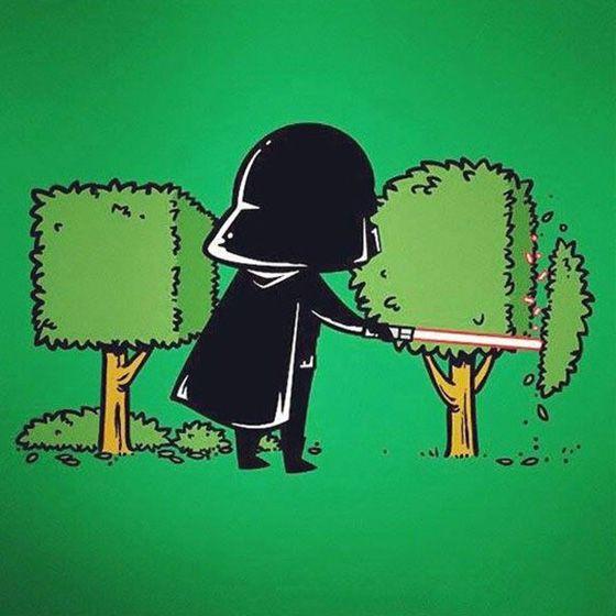 Dart Vader nyambi jadi tukang kebun sob buat mencukupi kebutuhan sehai-hari dan buat para Stormtrooper.