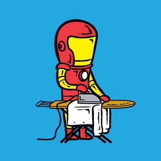 Sesuai namanya, Iron Man membuka jasa setrika di rumahnya lho sob.