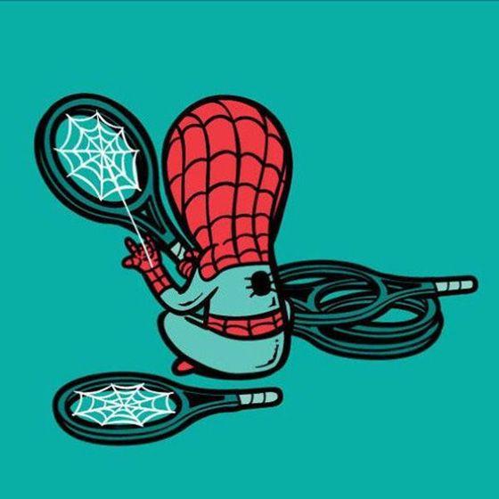 Hayoo siapa yang raketnya pada jebol, bisa dibenerin di Spiderman karena dia sekarang buka jasa jahit raket.