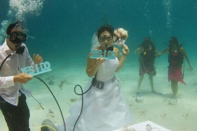 Seseorang bernama Adrian Park menggelar pernikahan dengan tema bawah laut mengagumkan kayak gini guys.