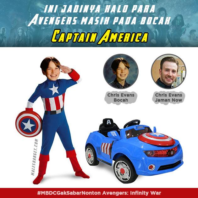 Captain America yang diperankan oleh Chris Evans lengkap dengan mobil mainannya.